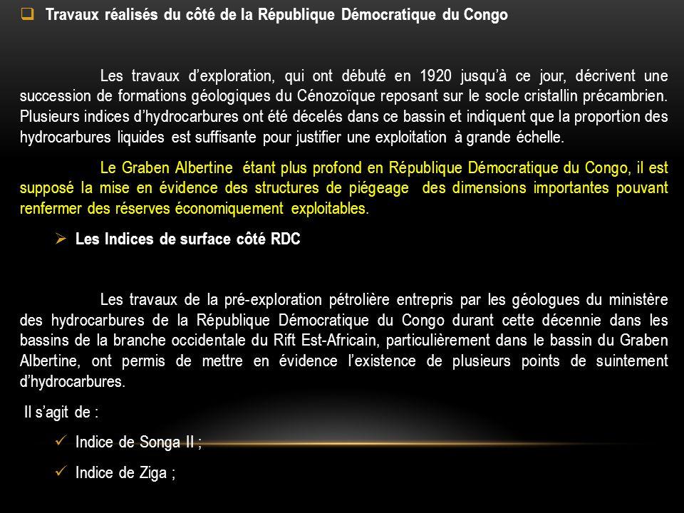 Travaux réalisés du côté de la République Démocratique du Congo