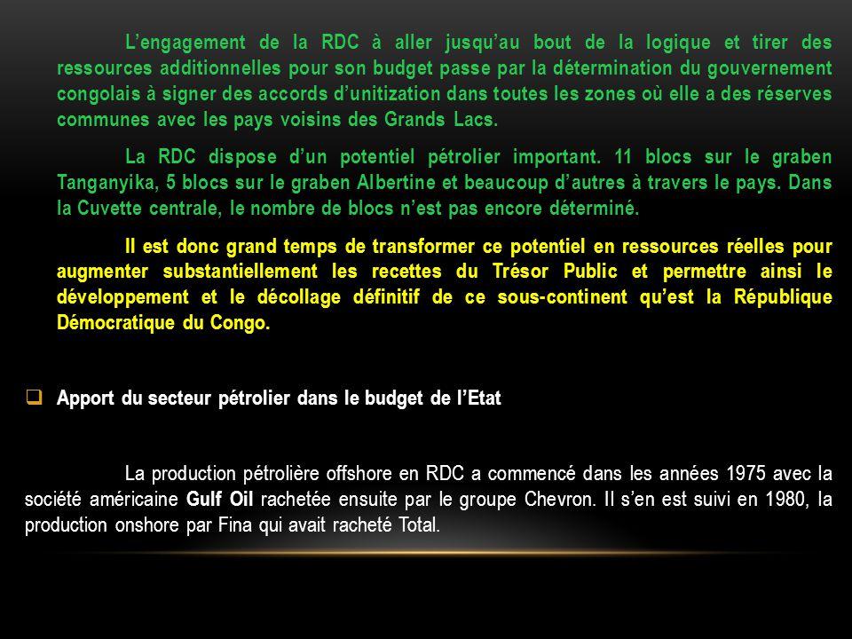 L'engagement de la RDC à aller jusqu'au bout de la logique et tirer des ressources additionnelles pour son budget passe par la détermination du gouvernement congolais à signer des accords d'unitization dans toutes les zones où elle a des réserves communes avec les pays voisins des Grands Lacs.