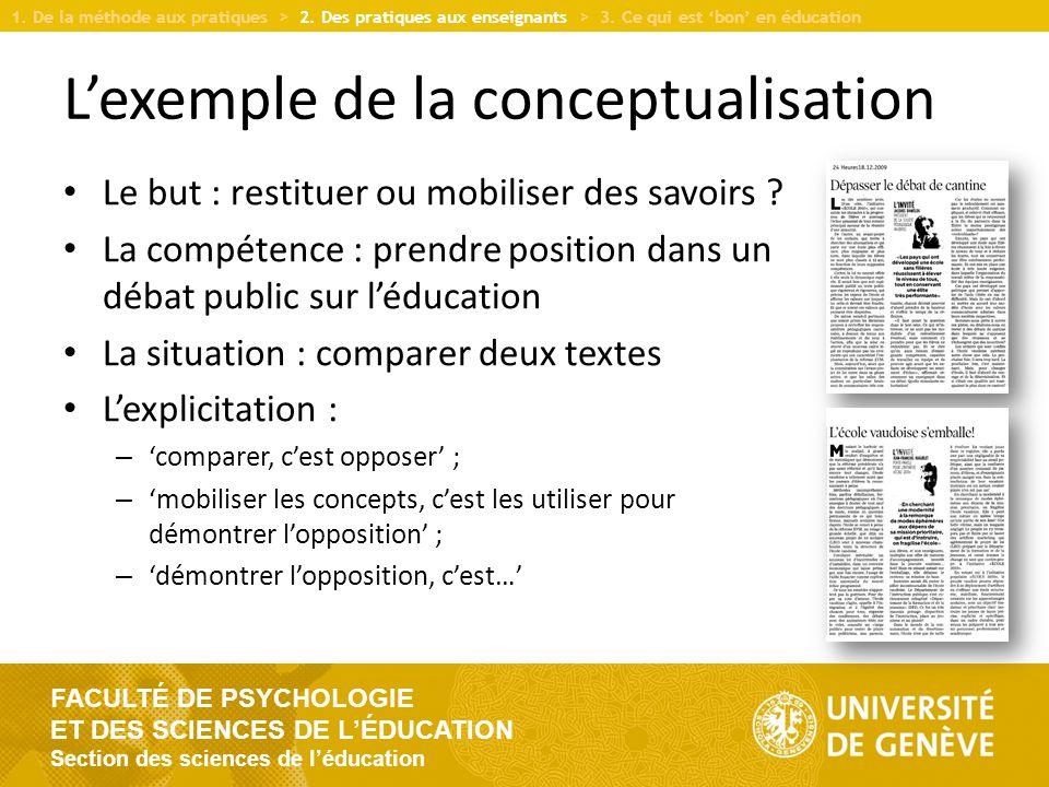 L'exemple de la conceptualisation