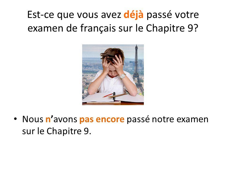 Est-ce que vous avez déjà passé votre examen de français sur le Chapitre 9