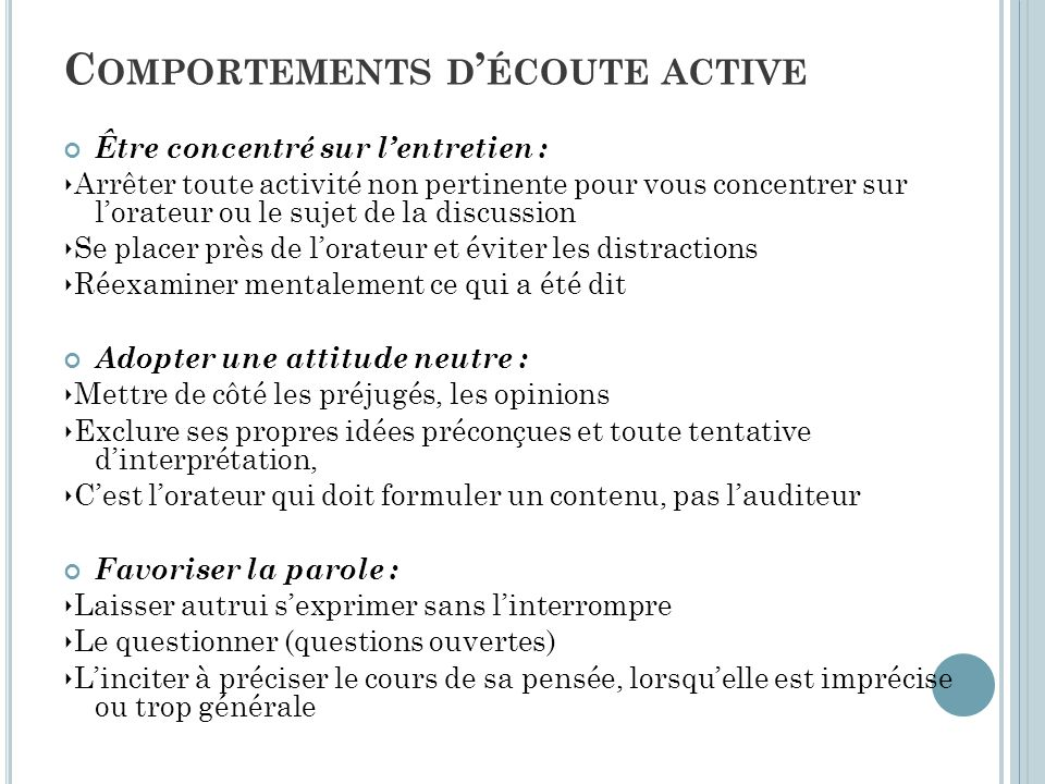 Comportements d'écoute active