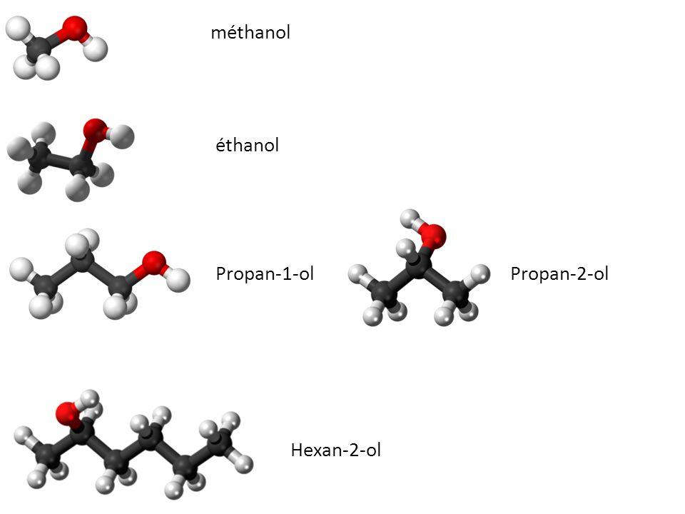 méthanol éthanol Propan-1-ol Propan-2-ol Hexan-2-ol