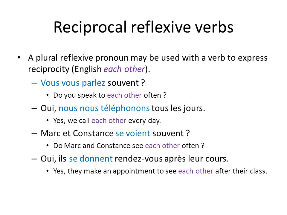 Reciprocal reflexive verbs