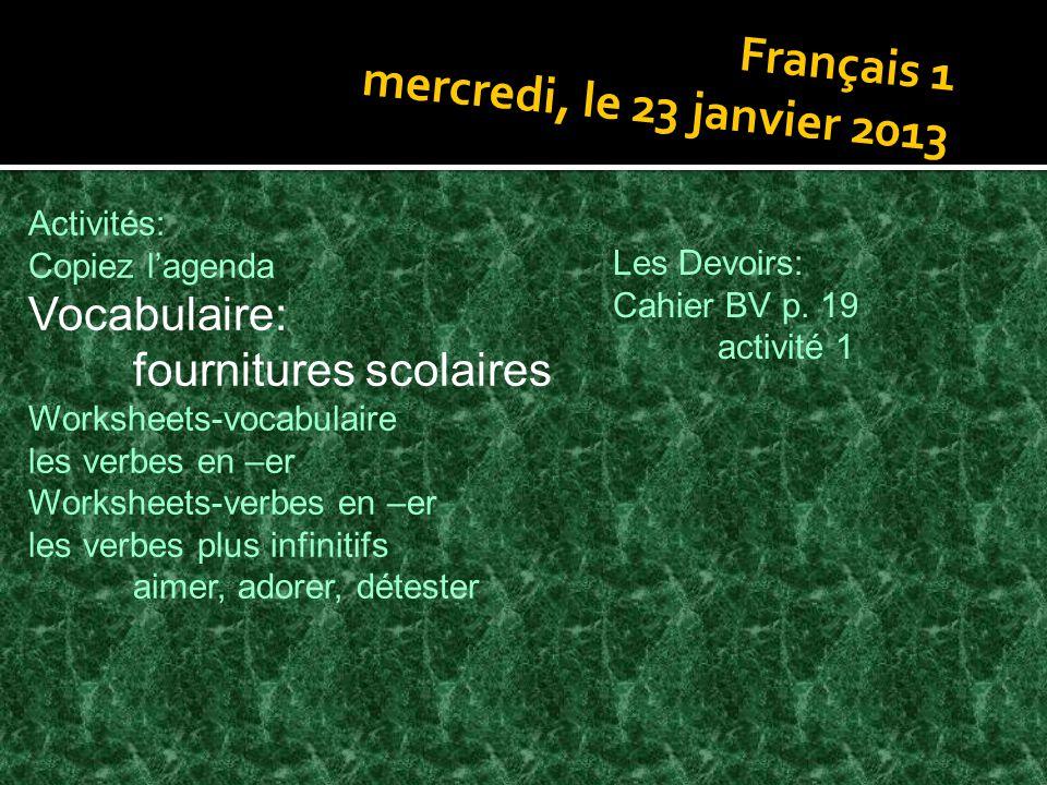 Français 1 mercredi, le 23 janvier 2013