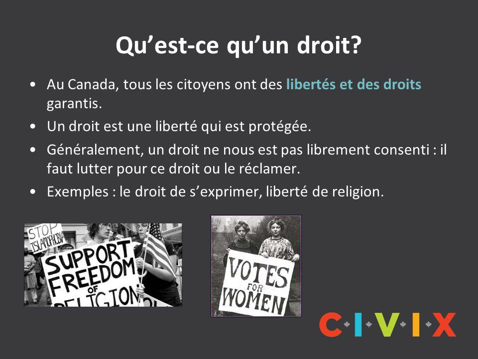 Qu'est-ce qu'un droit Au Canada, tous les citoyens ont des libertés et des droits garantis. Un droit est une liberté qui est protégée.