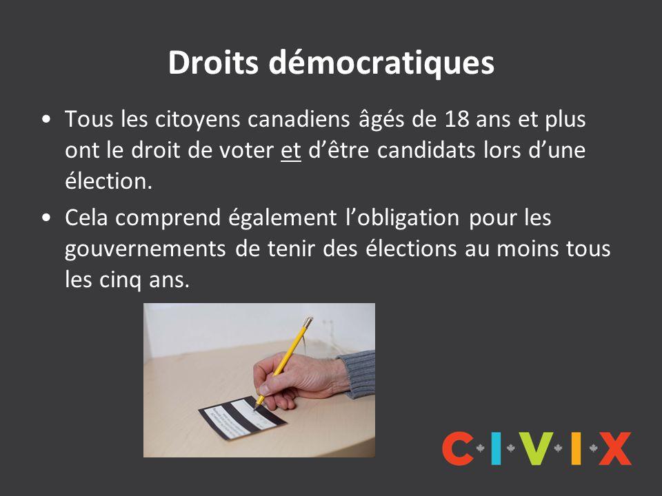 Droits démocratiques Tous les citoyens canadiens âgés de 18 ans et plus ont le droit de voter et d'être candidats lors d'une élection.