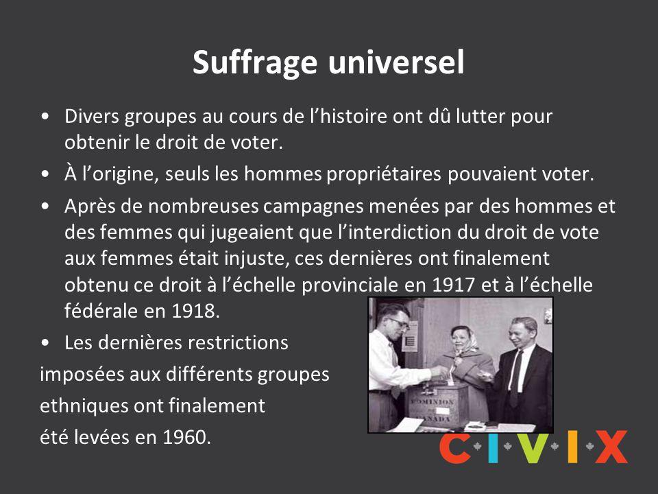 Suffrage universel Divers groupes au cours de l'histoire ont dû lutter pour obtenir le droit de voter.