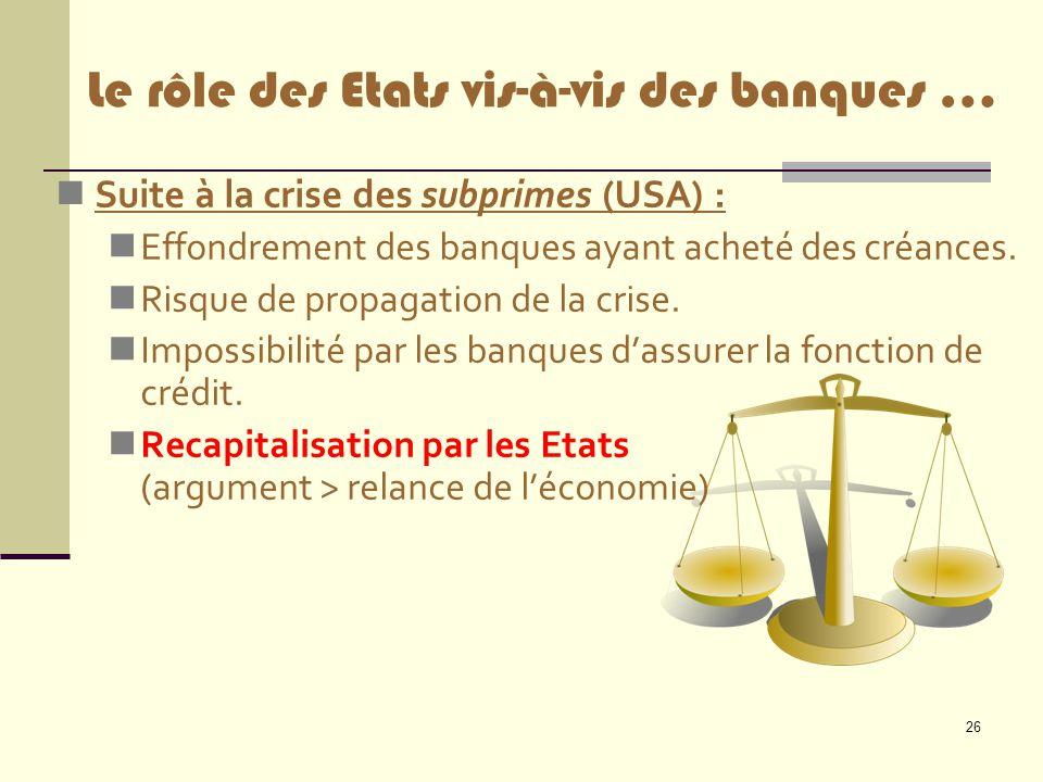 Le rôle des Etats vis-à-vis des banques …