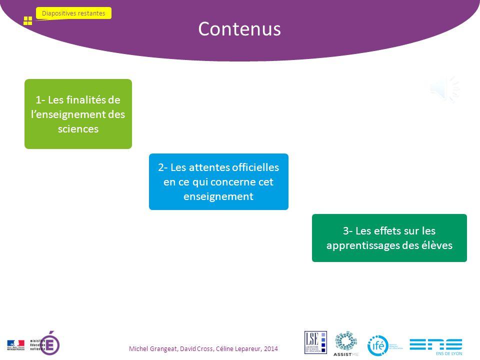Contenus 1- Les finalités de l'enseignement des sciences