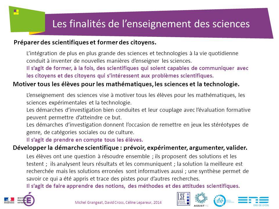 Les finalités de l'enseignement des sciences