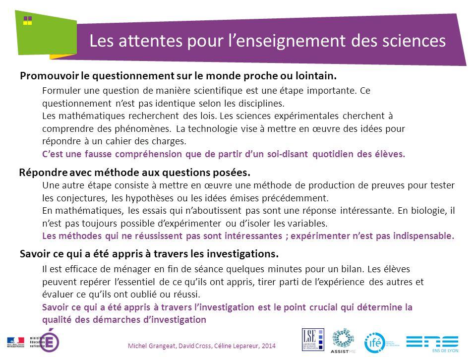 Les attentes pour l'enseignement des sciences