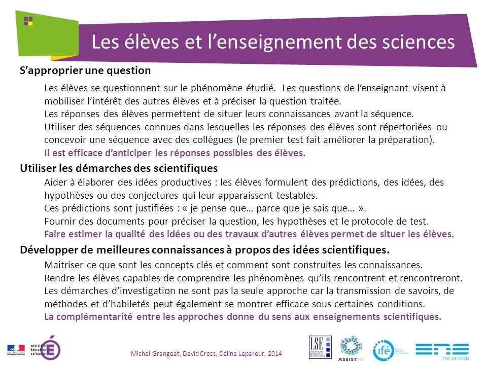 Les élèves et l'enseignement des sciences