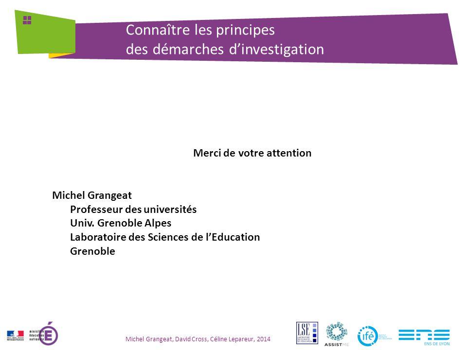 Connaître les principes des démarches d'investigation