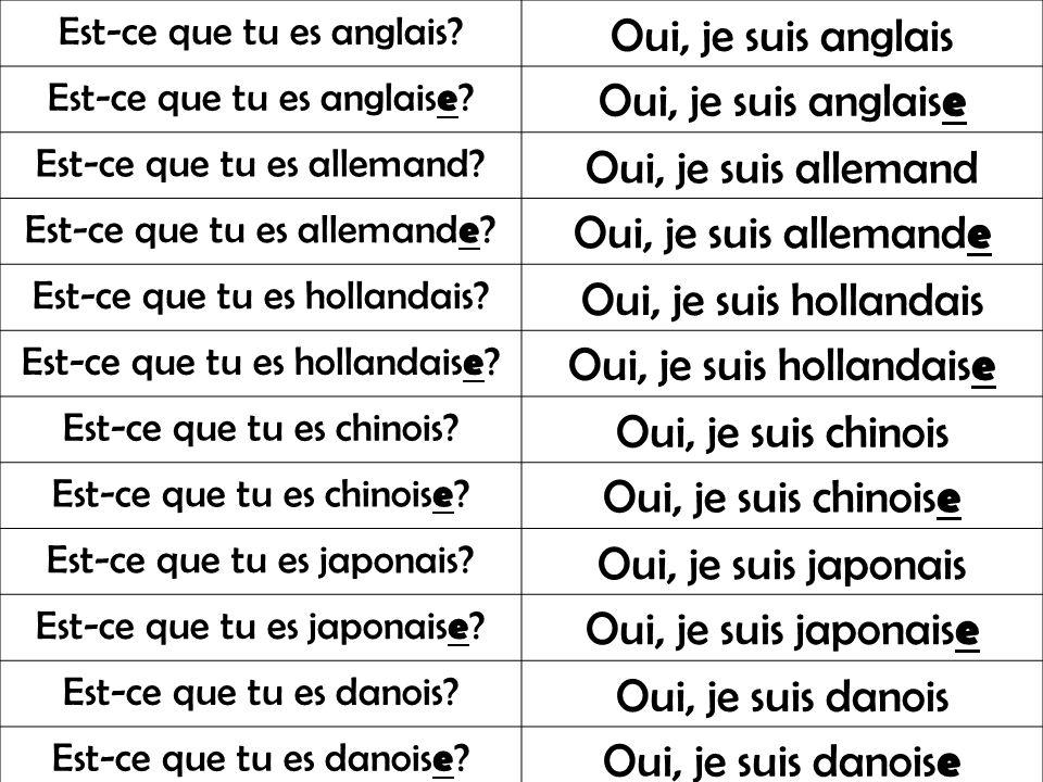 Oui, je suis hollandaise Oui, je suis chinois Oui, je suis chinoise
