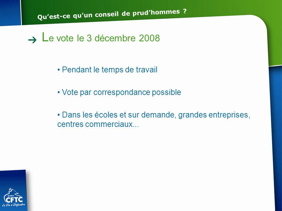 Le vote le 3 décembre 2008 Pendant le temps de travail