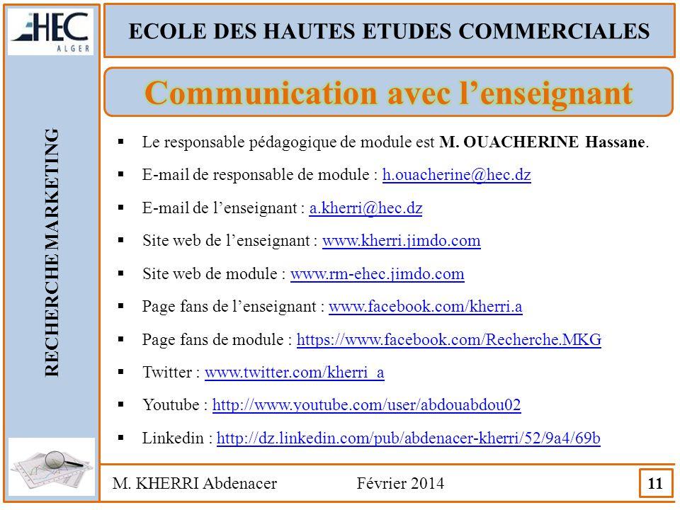 ECOLE DES HAUTES ETUDES COMMERCIALES Communication avec l'enseignant