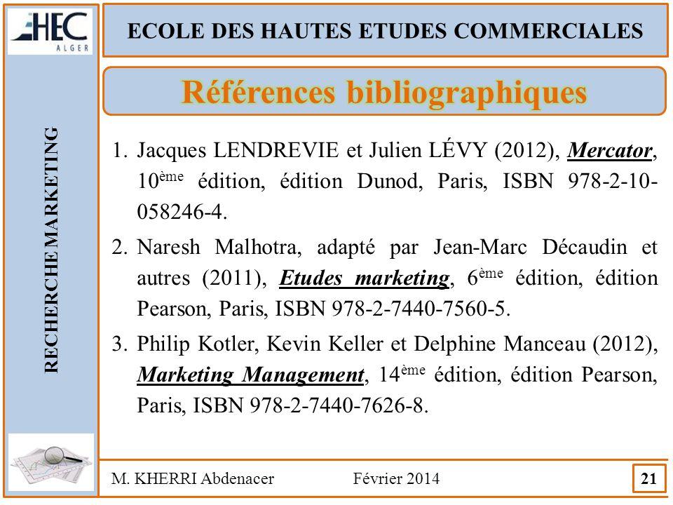 ECOLE DES HAUTES ETUDES COMMERCIALES Références bibliographiques