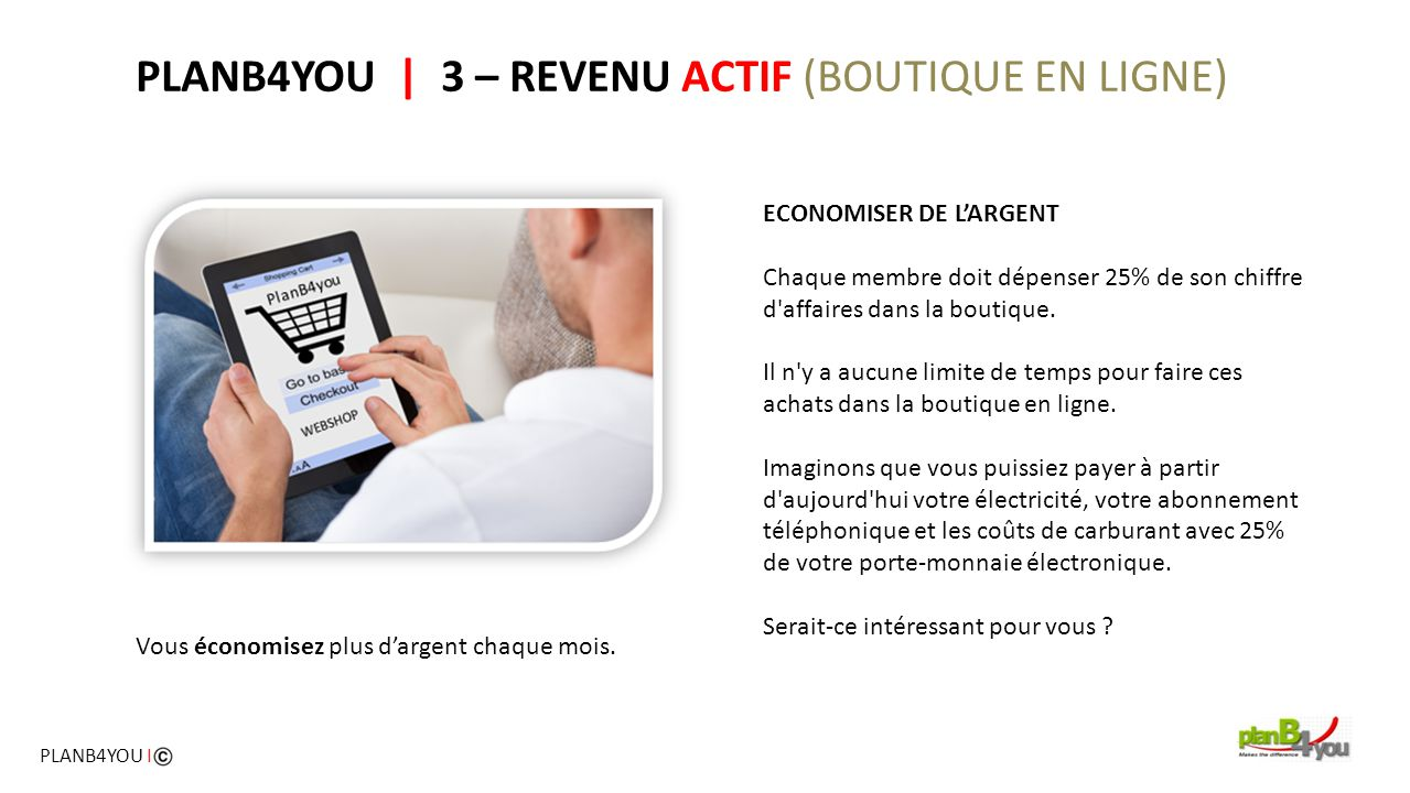 PLANB4YOU | 3 – REVENU ACTIF (BOUTIQUE EN LIGNE)