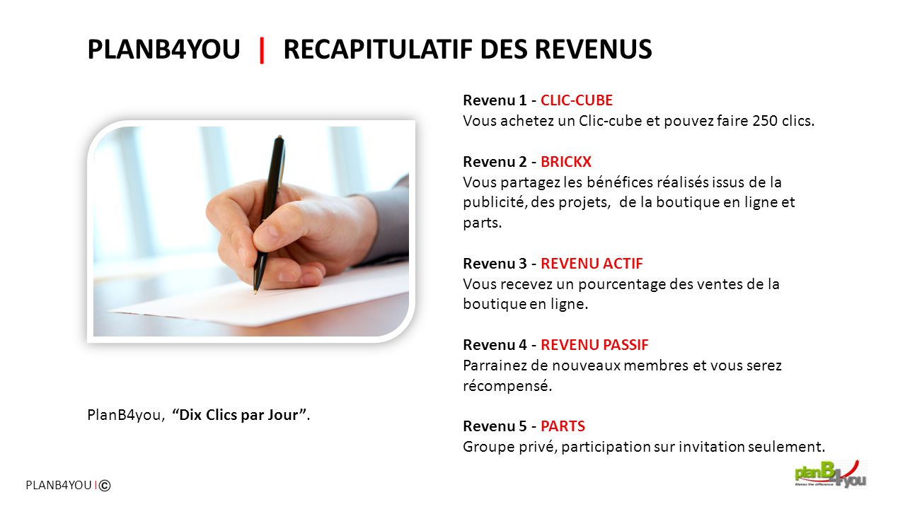 PLANB4YOU | RECAPITULATIF DES REVENUS