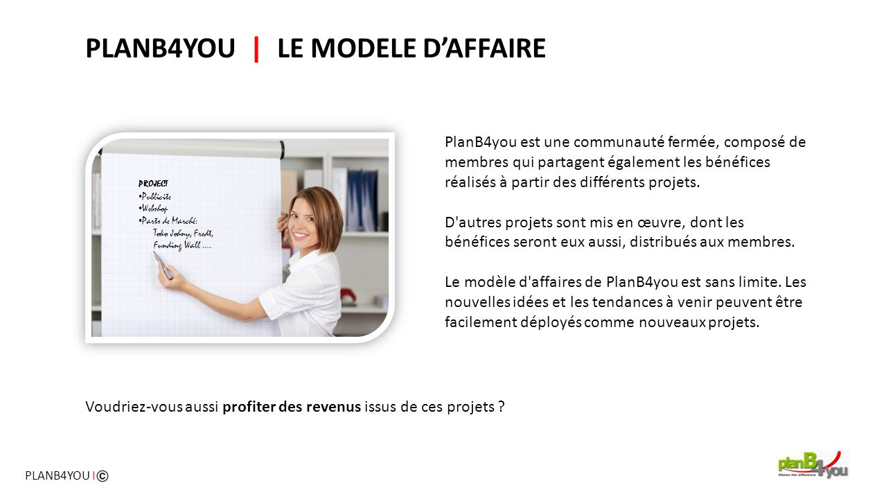PLANB4YOU | LE MODELE D'AFFAIRE