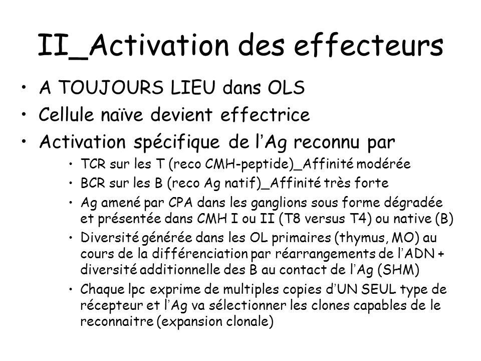 II_Activation des effecteurs