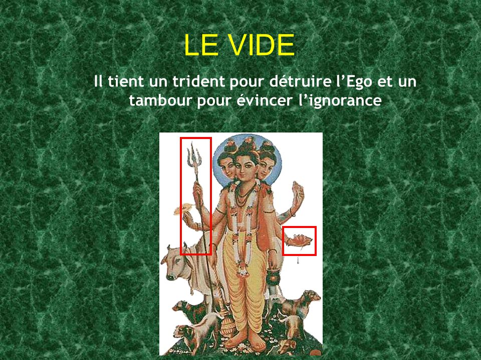 LE VIDE Il tient un trident pour détruire l'Ego et un tambour pour évincer l'ignorance