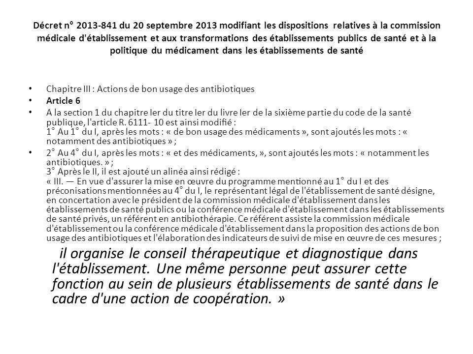 Décret n° 2013-841 du 20 septembre 2013 modifiant les dispositions relatives à la commission médicale d établissement et aux transformations des établissements publics de santé et à la politique du médicament dans les établissements de santé
