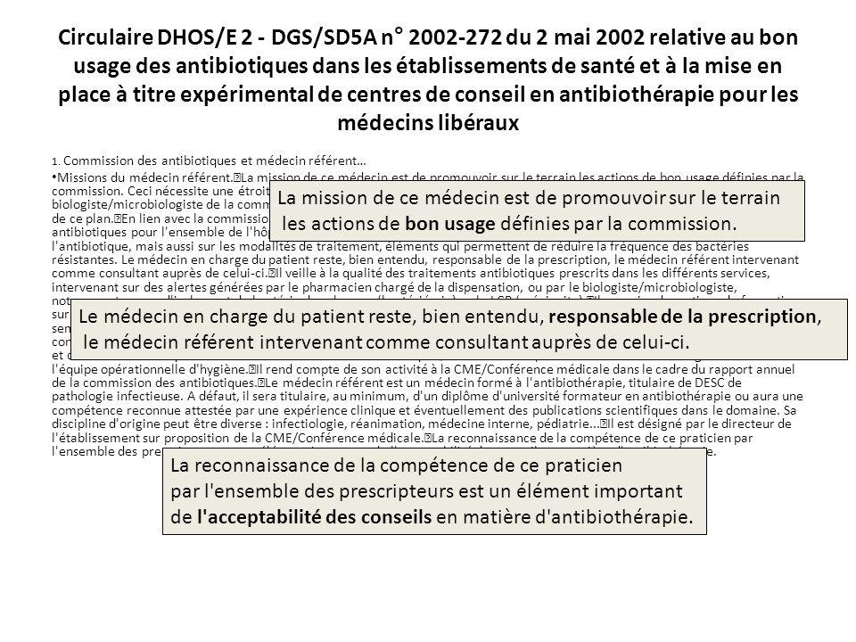 Circulaire DHOS/E 2 - DGS/SD5A n° 2002-272 du 2 mai 2002 relative au bon usage des antibiotiques dans les établissements de santé et à la mise en place à titre expérimental de centres de conseil en antibiothérapie pour les médecins libéraux