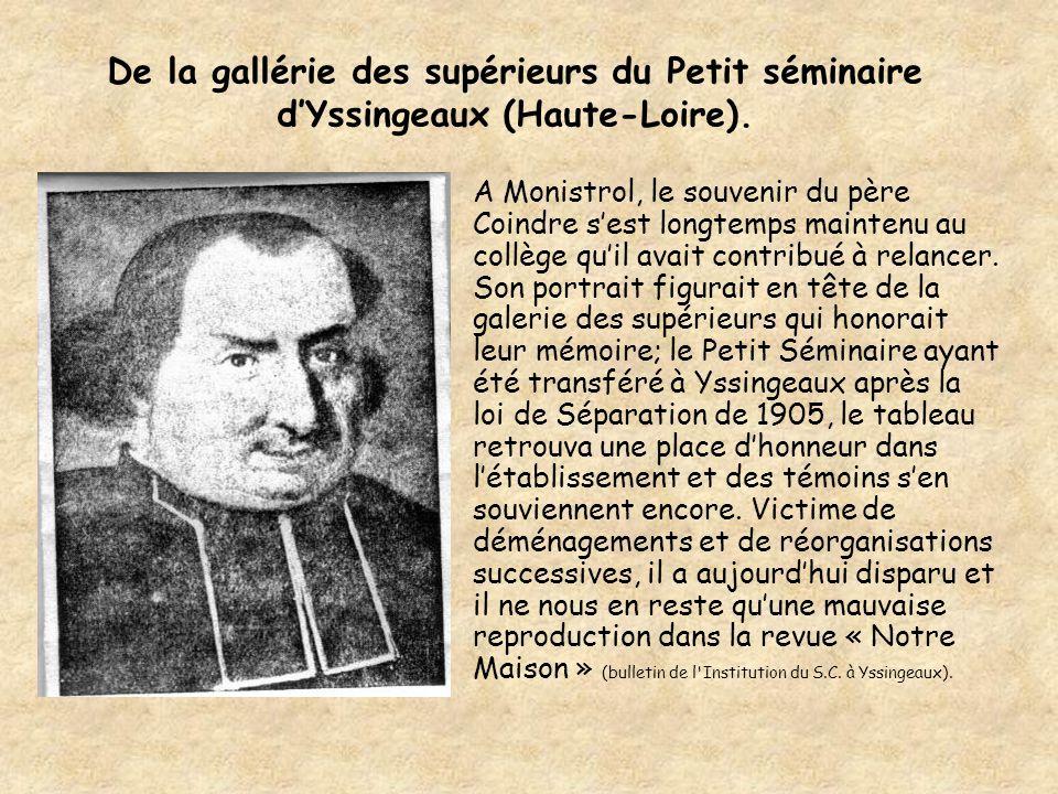 De la gallérie des supérieurs du Petit séminaire d'Yssingeaux (Haute-Loire).