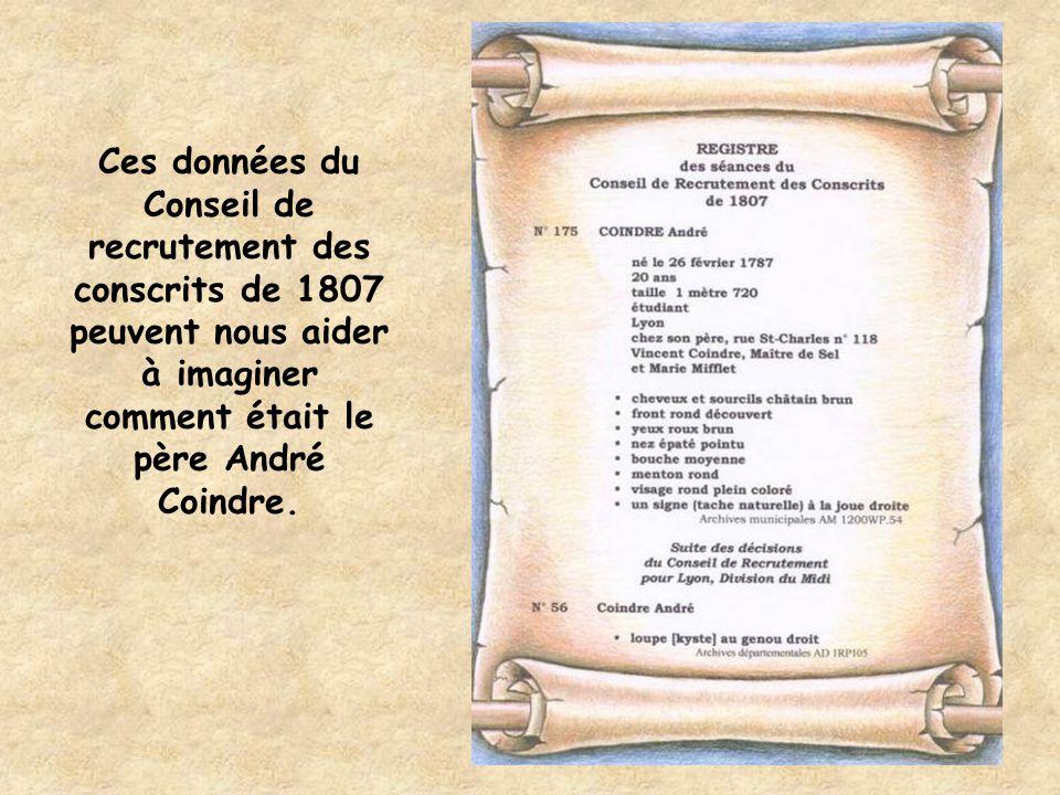 Ces données du Conseil de recrutement des conscrits de 1807 peuvent nous aider à imaginer comment était le père André Coindre.