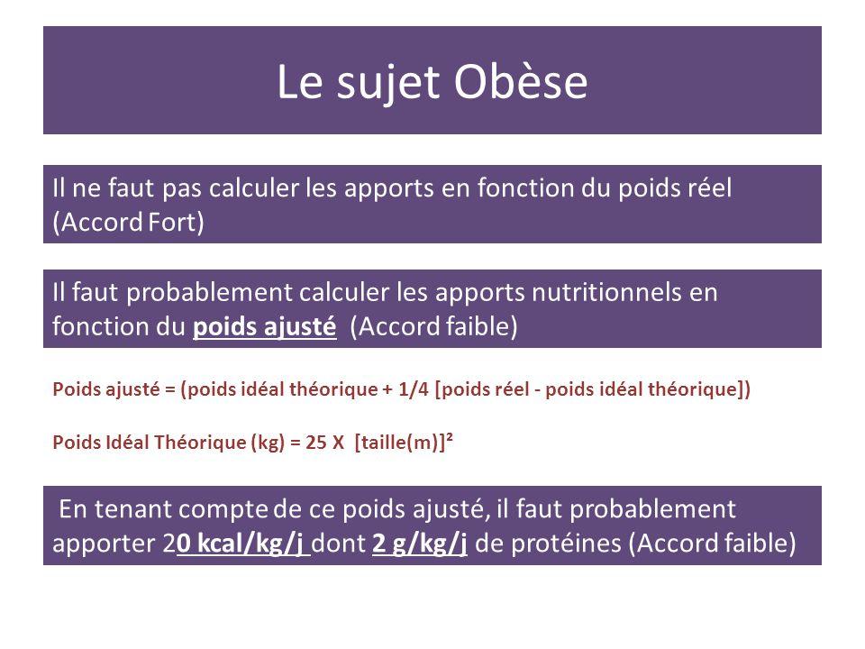 Le sujet Obèse Il ne faut pas calculer les apports en fonction du poids réel (Accord Fort)
