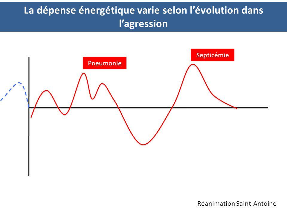 La dépense énergétique varie selon l'évolution dans l'agression