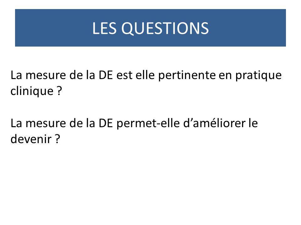 LES QUESTIONS La mesure de la DE est elle pertinente en pratique clinique .