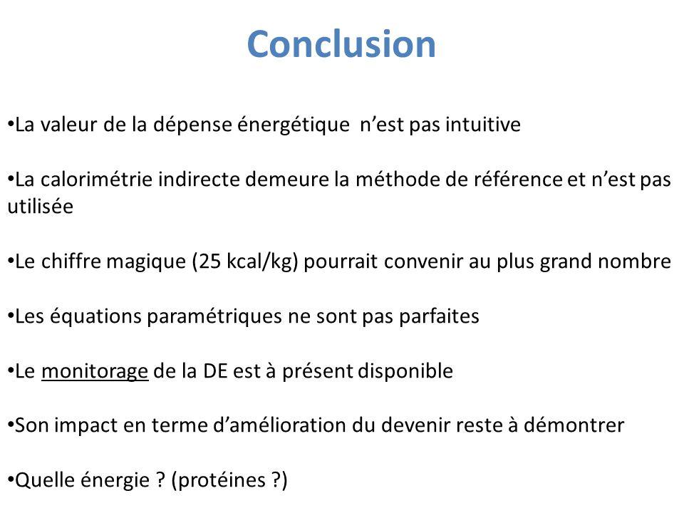 Conclusion La valeur de la dépense énergétique n'est pas intuitive