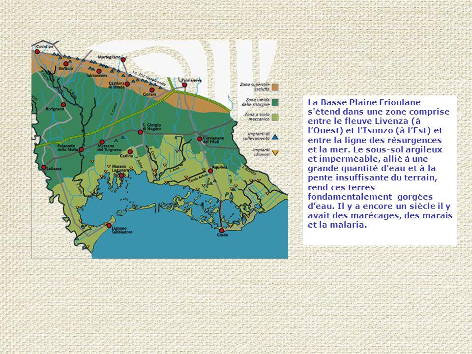 La Basse Plaine Frioulane s étend dans une zone comprise entre le fleuve Livenza (à l'Ouest) et l Isonzo (à l'Est) et entre la ligne des résurgences et la mer.