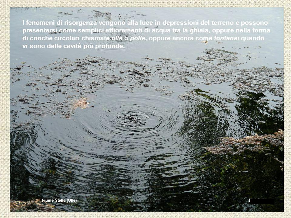 I fenomeni di risorgenza vengono alla luce in depressioni del terreno e possono presentarsi come semplici affioramenti di acqua tra la ghiaia, oppure nella forma di conche circolari chiamate olle o polle, oppure ancora come fontanai quando vi sono delle cavità più profonde.