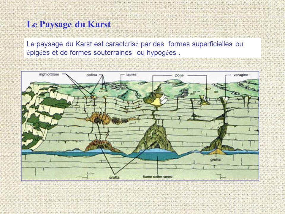 Le Paysage du Karst Le paysage du Karst est caractérisé par des formes superficielles ou épigées et de formes souterraines ou hypogées .
