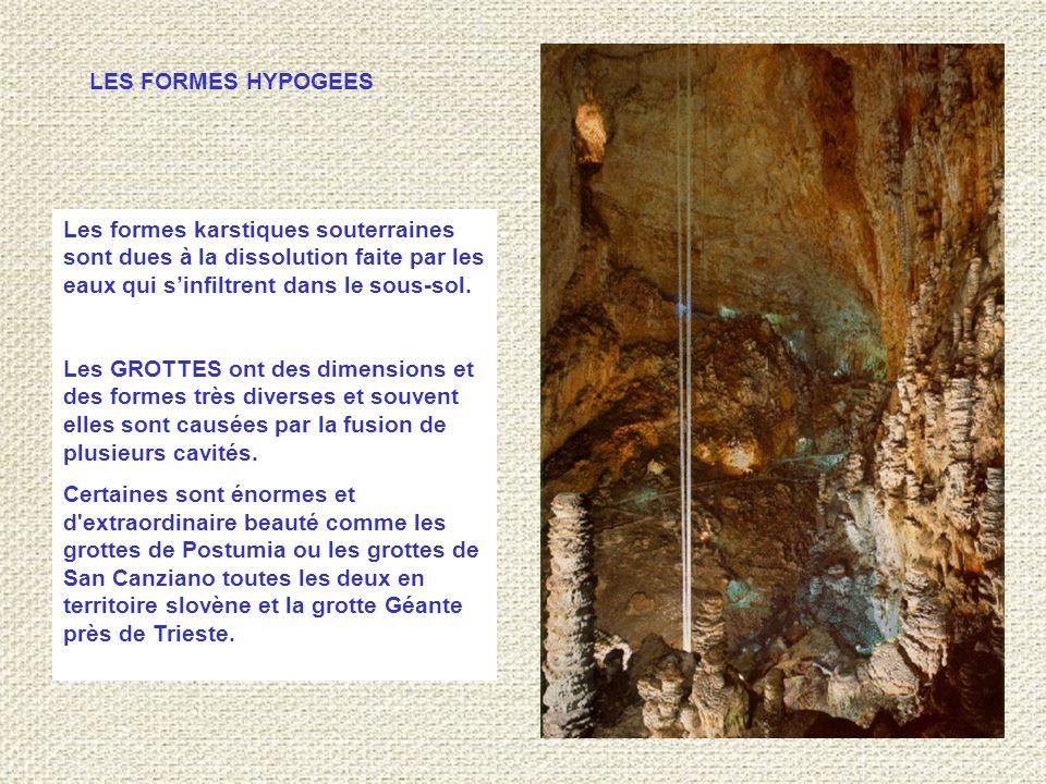 LES FORMES HYPOGEES Les formes karstiques souterraines sont dues à la dissolution faite par les eaux qui s'infiltrent dans le sous-sol.