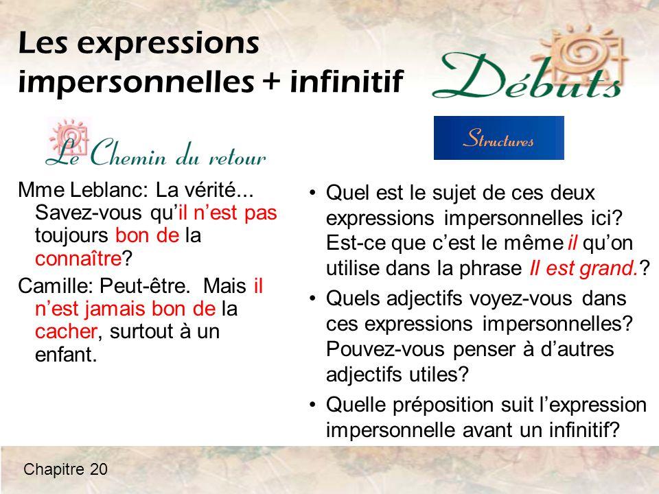 Les expressions impersonnelles + infinitif