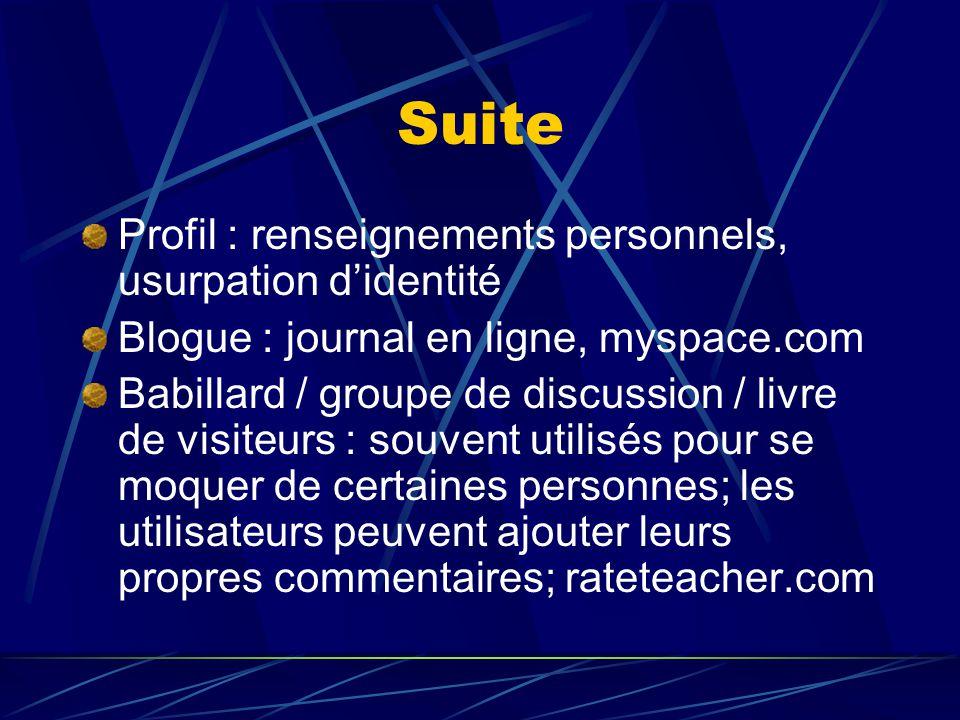 Suite Profil : renseignements personnels, usurpation d'identité