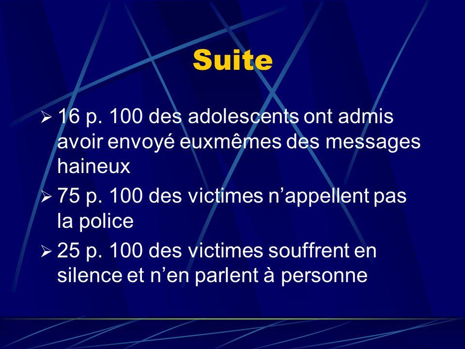 Suite 16 p. 100 des adolescents ont admis avoir envoyé euxmêmes des messages haineux. 75 p. 100 des victimes n'appellent pas la police.