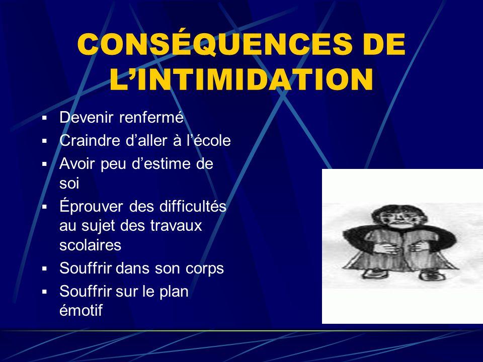 CONSÉQUENCES DE L'INTIMIDATION
