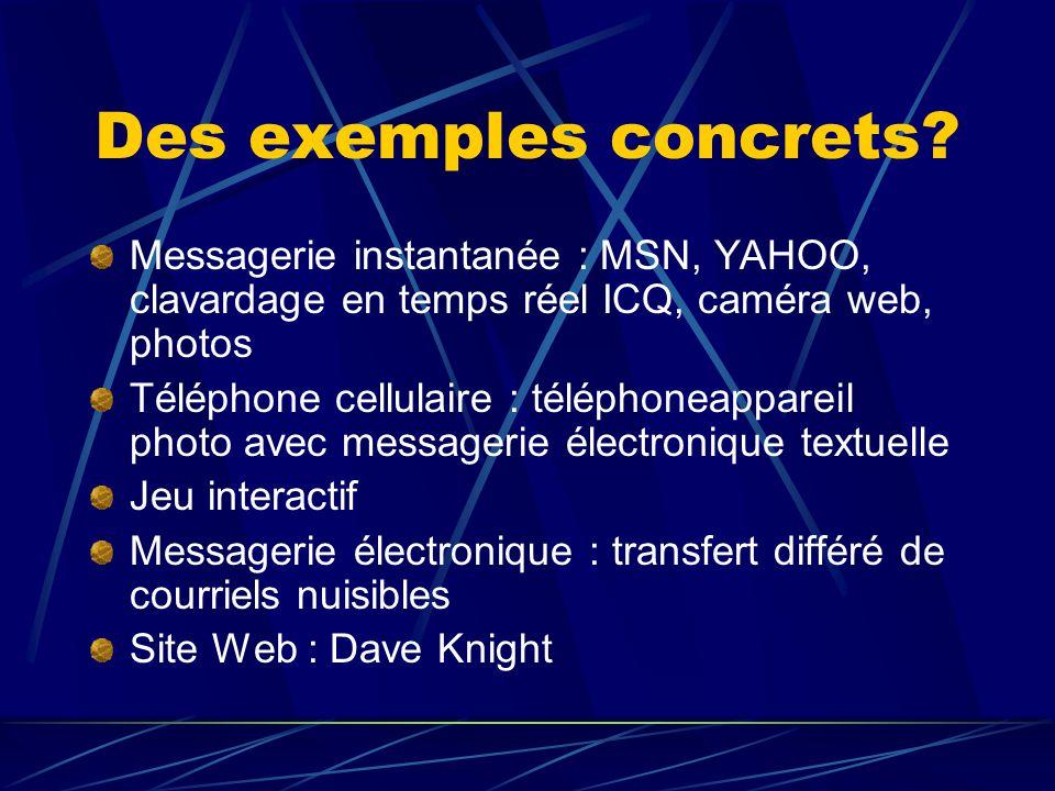 Des exemples concrets Messagerie instantanée : MSN, YAHOO, clavardage en temps réel ICQ, caméra web, photos.