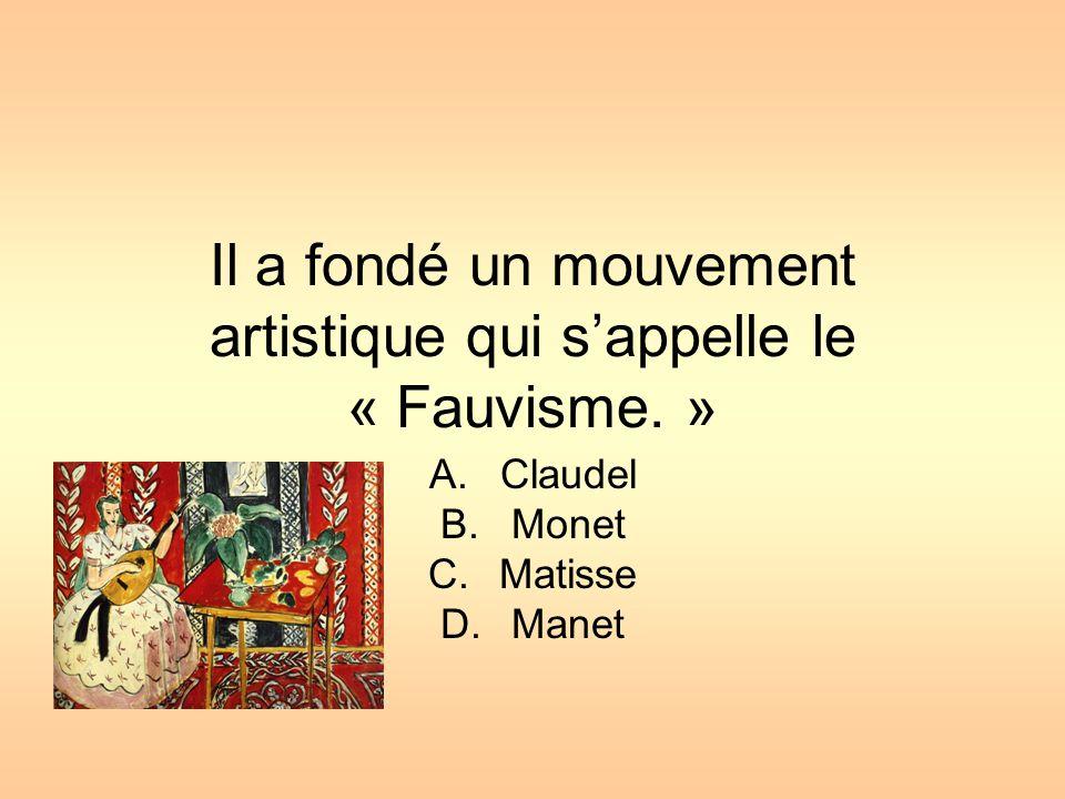 Il a fondé un mouvement artistique qui s'appelle le « Fauvisme. »