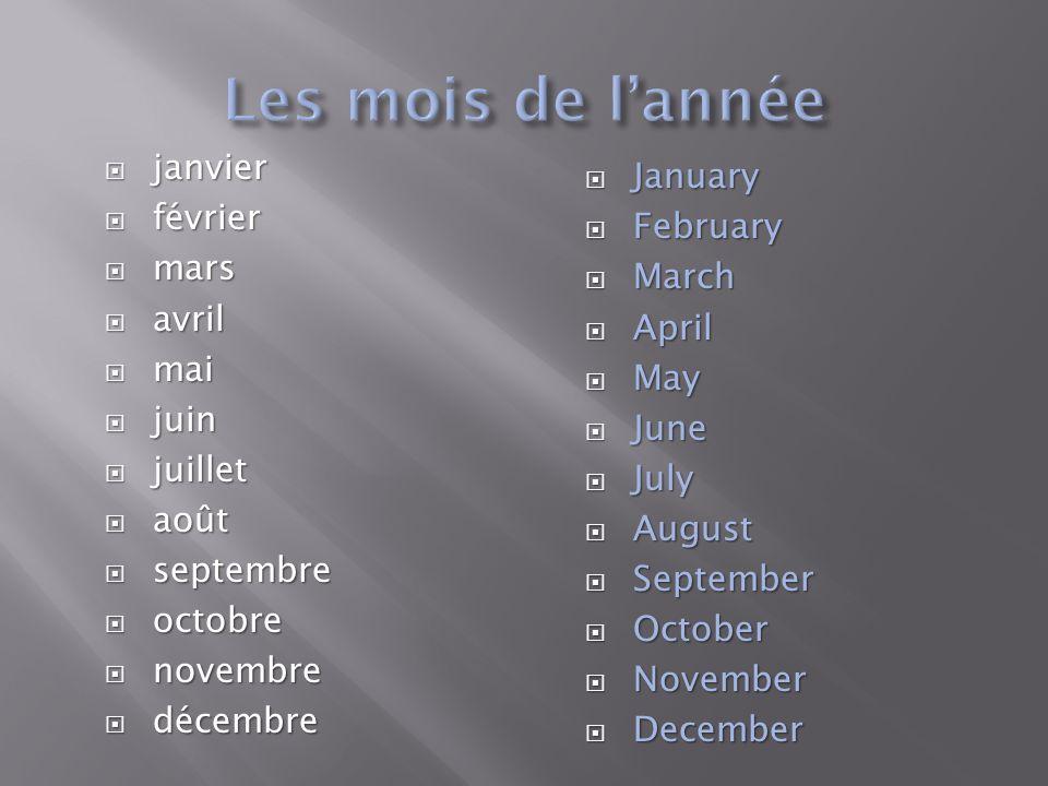 Les mois de l'année janvier January février February mars March avril