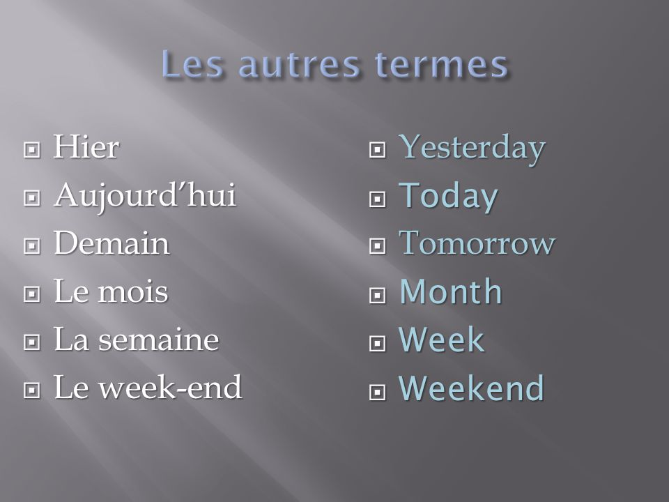 Les autres termes Hier Aujourd'hui Demain Le mois La semaine