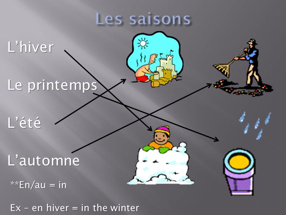 Les saisons L'hiver Le printemps L'été L'automne **En/au = in