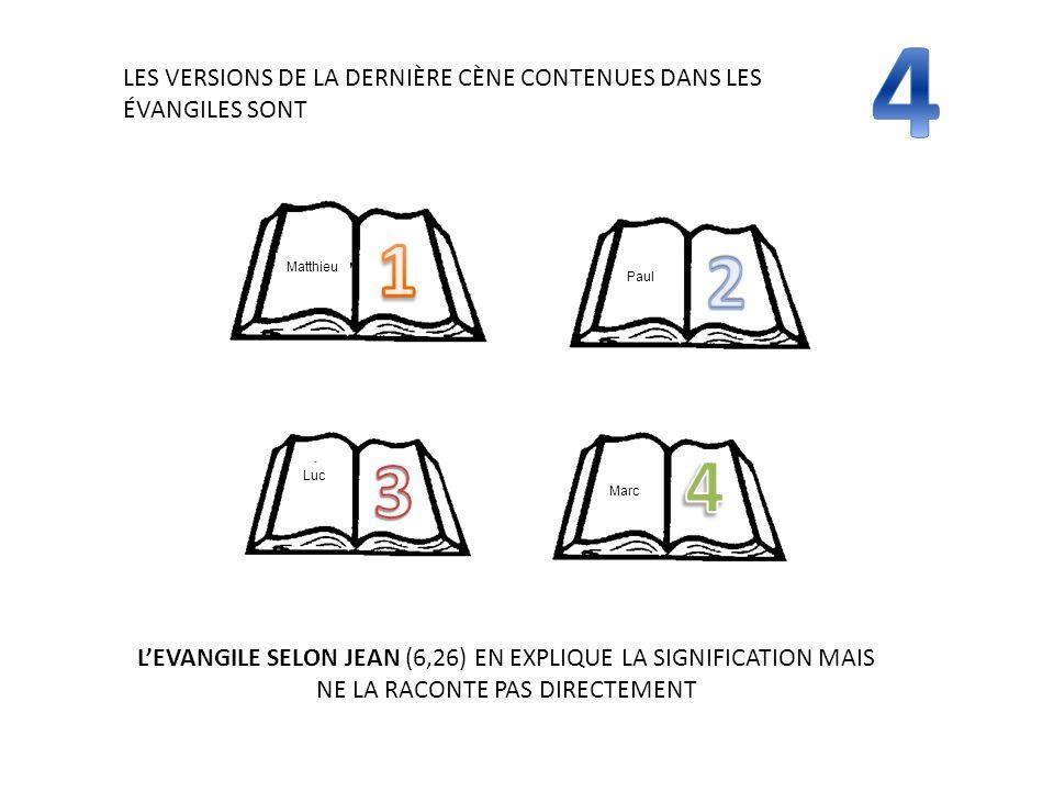4 LES VERSIONS DE LA DERNIÈRE CÈNE CONTENUES DANS LES ÉVANGILES SONT. 4. 3. 1. 2. Matthieu. Luc.