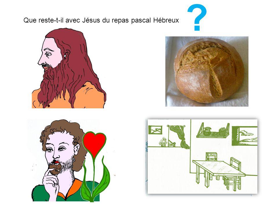 Que reste-t-il avec Jésus du repas pascal Hébreux