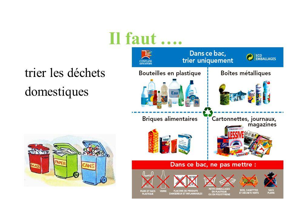 Il faut …. trier les déchets domestiques